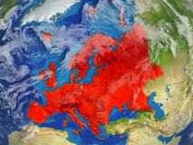 Europe on realistic model of planet Earth with very detailed planet surface and clouds. Continent highlighted in red colour. 3D. Illustration. Elements of this royalty free illustration