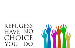 Europe Refugee Crisis. Card with colorful hands Royalty Free Stock Photos