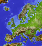 Europe, relief map vector illustration