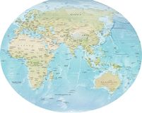 Wolrd Map detailed Europe, Rusia, Africa, Australia  Stock Photography