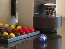 Europe's new flavor nEspresso. The nespresso capsules are a hit throughout Europe. The diversity of mix blends and quality of the espresso coffee are Royalty Free Stock Photos