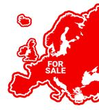 Europe is For Sale. Privatization of country and foreign investment into European industry. Investors from abroad own business on the continent. Vector Stock Photography