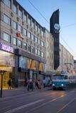 Europe, Scandinavia, Sweden, Gothenburg, Arkaden Shopping Centre & Tram at Dusk Stock Photos