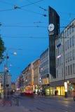 Europe, Scandinavia, Sweden, Gothenburg, Arkaden Shopping Centre & Tram at Dusk Royalty Free Stock Images