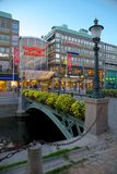 Europe, Scandinavia, Sweden, Gothenburg, Nordstan Shopping Centre & Canal at Dusk Stock Photo