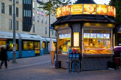 Europe, Scandinavia, Sweden, Gothenburg, Refreshments Stall & Tram in Motion Royalty Free Stock Photography