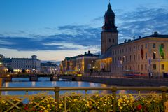 Europe, Scandinavia, Sweden, Gothenburg, Town Hall & Canal at Dusk Royalty Free Stock Images