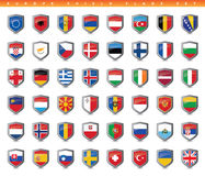 Europe Shield Flags Set Royalty Free Stock Images