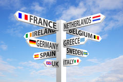 Europe Signpost Royalty Free Stock Photo