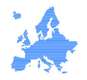 Europe silhouette with strips. Royalty Free Stock Photography