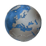 Europe on silver Earth Royalty Free Stock Photography