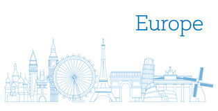 Europe skyline detailed silhouette. Vector illustration. Europe skyline detailed silhouette Outline version Vector illustration Royalty Free Stock Photo