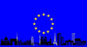 Europe  skyline and flag Royalty Free Stock Images