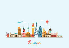 Europe skyline. Travel and tourism background. Stock Photos