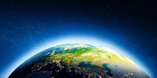 Europe from space. Elements of this image furnished by NASA. 3d rendering stock photos