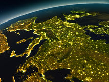 Europe from space in the evening. Europe in the evening from Earth's orbit in space. 3D illustration with detailed planet surface and city lights. Elements of vector illustration
