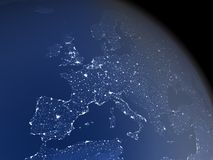 Europe from space at night Stock Image