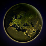Europe from space at night Royalty Free Stock Image