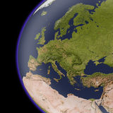 Europe from space, shaded relief map. Colored according to natural appearance, with major urban areas Stock Photo