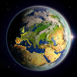 Europe from space at twilight Royalty Free Stock Photos