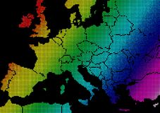 Europe spectral map. Computer illustration of European continent stock illustration