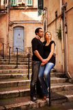 Europe Street Couple. An attractive couple in a quaint european street stock image