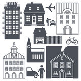 Europe street life and houses set Stock Image