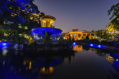 Europe style garden in Songshan Cultural and Creative Park. Night view of the europe style garden in Songshan Cultural and Creative Park Stock Image