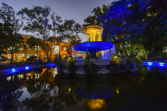 Europe style garden in Songshan Cultural and Creative Park. Taipei, DEC 25: Night view of the europe style garden in Songshan Cultural and Creative Park on DEC Stock Photography