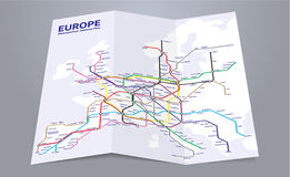 Europe subway map. Folded paper map of a fictional european subway system Stock Photography