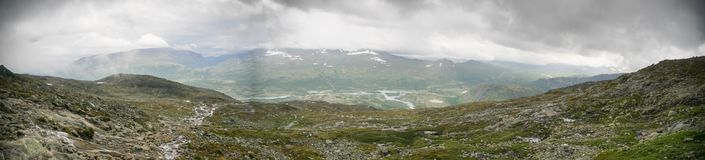 Mountain hiking in Norway. Europe summer travel in mountains and lakes of Scandinavia Stock Photography