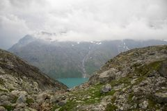 Mountain hiking in Norway. Europe summer travel in mountains and lakes of Scandinavia Royalty Free Stock Photos