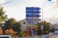 Europe,Switzerland,Information signs - arrows on the road on the way to Stuttgart, Bargen and other -September 28,  2015 Royalty Free Stock Images