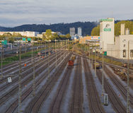 Europe,Switzerland, Interlaken -Railroad tracks on the outskirts of the city -September 28,  2015 Stock Photography