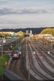 Europe,Switzerland, Interlaken -Railroad tracks on the outskirts of the city -September 28,  2015 Royalty Free Stock Image