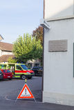 Europe,Switzerland,Schaffhausen -Parking ambulance and prohibiting road sign near the walls of the house -September 28,  2015 Stock Images