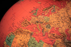 Europe on terrestrial globe and black background Royalty Free Stock Photography