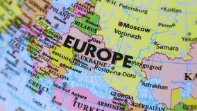Europe. Terrestrial Globe 4K. Terrestrial globe rotates and stops at Europe stock footage