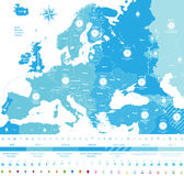 Europe time zones high detailed map with location and clock icons.  Royalty Free Stock Photos