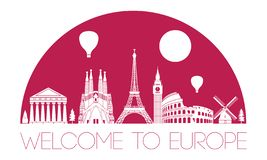 Europe top famous landmark silhouette and dome with pink color s vector illustration