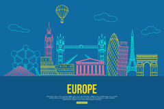 Europe travel background with place for text. Isolated European outlined sightseeings and symbols. Skyline detailed Royalty Free Stock Photos