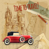 Europe Travel Car Vintage Poster. Europe time to travel tagline with classic car on architecture background vintage poster vector illustration Royalty Free Stock Image