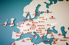Europe travel destination map Stock Photos