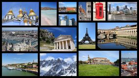 Europe travel. Europe landmarks - tourism attractions collage including London, Oslo, Paris, Rome, Florence, Vienna, Belgrade, Kiev, Warsaw and Alps Stock Photo