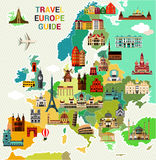 Europe Travel Map. Europe Map with Famous Sightseeing. Travel Guide. Vector illustration Stock Images