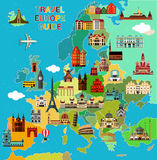Europe Travel Map. Europe Map with Famous Sightseeing. Travel Guide. Vector illustration Royalty Free Stock Photo