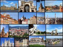 Europe travel. Photo collage from cities of Europe. Collage includes major cities like London, Rome, Stockholm, Vienna, Milan, Seville, Gdansk and Warsaw Royalty Free Stock Photo