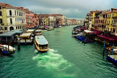 Ships sailing on the Grand Canal. Venice, Italy royalty free stock images