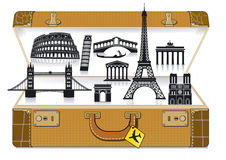 Europe travel suitcase Stock Images