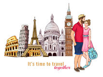 Europe Travel Tour Characters Composition. Colored europe travel tour characters composition with couple in love in the foreground vector illustration Royalty Free Stock Image